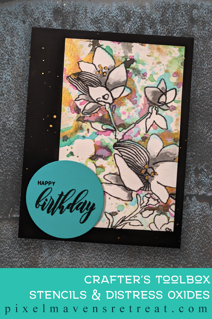 For the Altenew Educator Certification Program - level 1: Stencil Techniques. Features Sketchy Floral stamp set, Floral Drape Stencil, Distress Oxides. For more information and a video, click through to the blog post. #pmretreat #altenew #AECP #floral #birthday