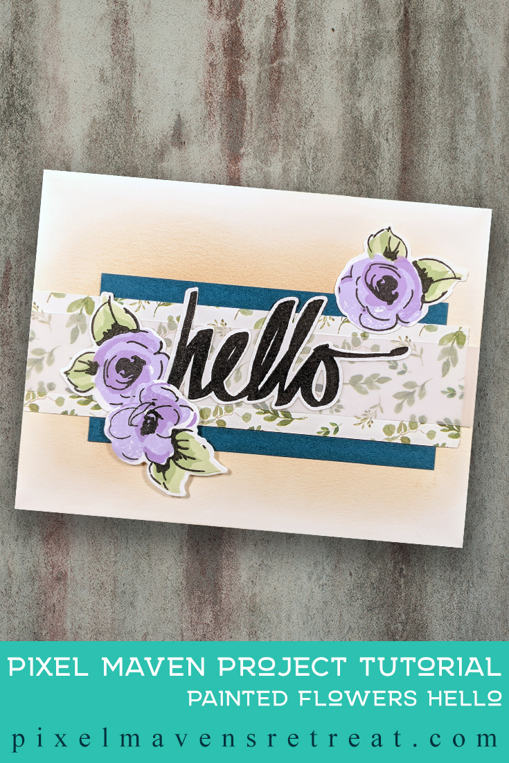 For the Altenew Educator Certification Program - level 1: All About Layering. Features Painted Flowers stamp set &dies, Altenew Crisp Dye Inks. For more details, click through to the blog post. #pmretreat #altenew #AECP #floral #flowerbuilder #hello
