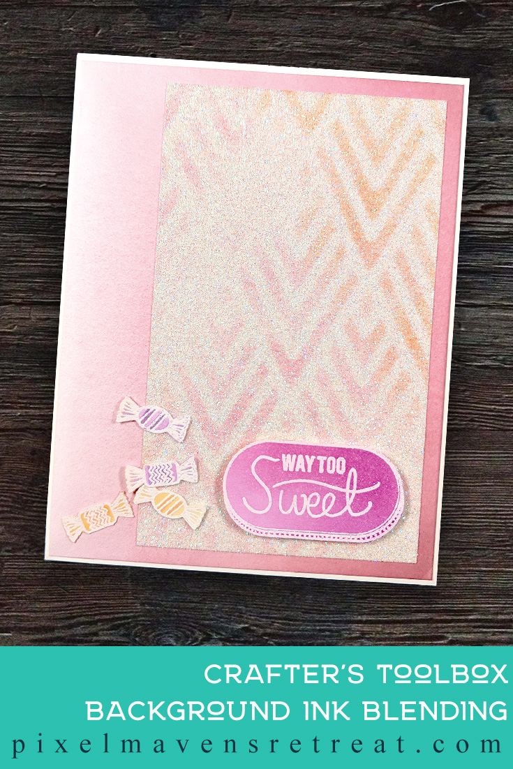 For the Altenew Educator Certification Program - level 1: Easy Ink Blending Techniques. Features Way Too Sweet stamp set & dies, Altenew Crisp Dye Inks, Stencil Brushes (Scrapbook.com). For more details, click through to the blog post. #pmretreat #altenew #AECP #pink #candy #sweet