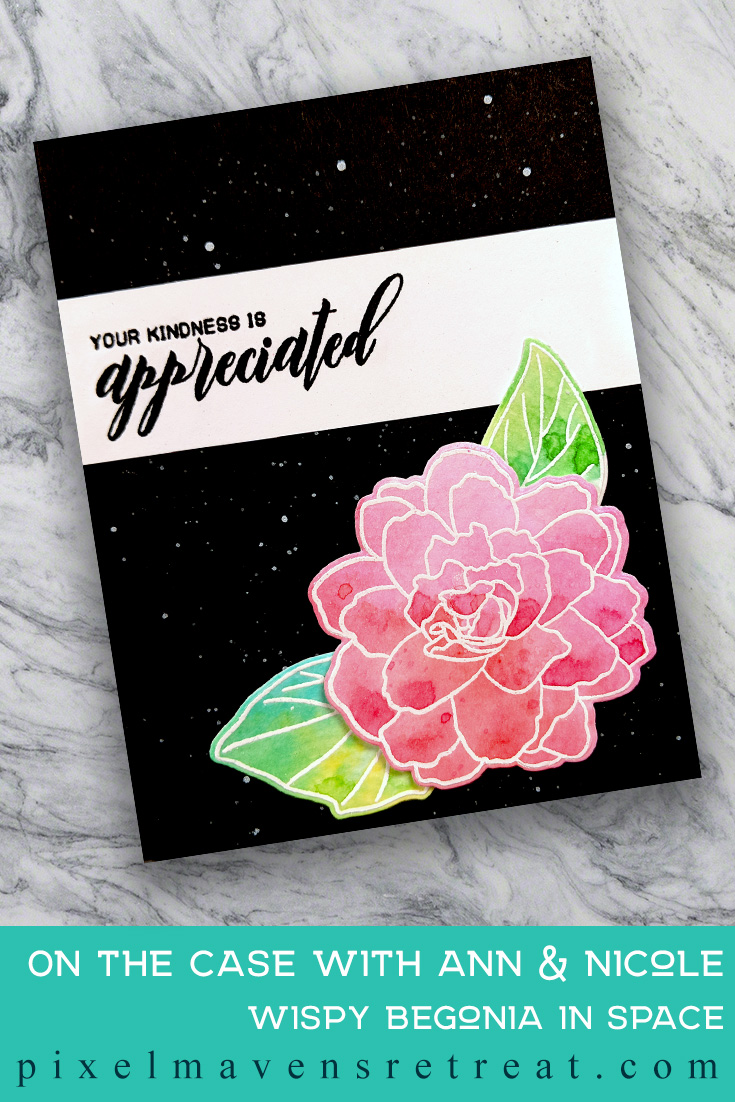 For On the CASE with Ann & Nicole (March 2019). Featuring, Wispy Begonia (Altenew). For more details including step-by-step instructions for CASE-ing this card , click through. #pmretreat #altenew #kindness #appreciation #watercolor #handstamped