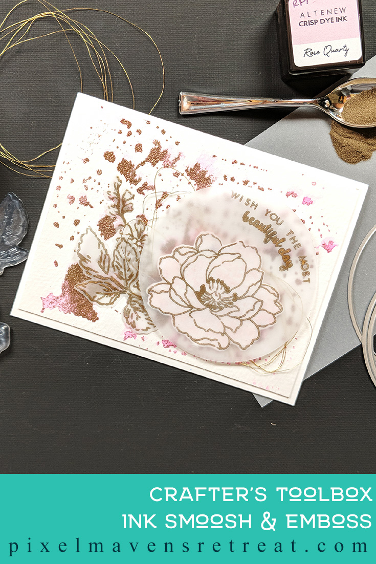 For the Altenew Educator Certification Program - level 2: Impressive Heat Embossing. Features Beautiful Day stamp set, Altenew crisp dye inks, Altenew embossing powder. For more details, click through to the blog post. #pmretreat #altenew #AECP #beautifulday #heatemboss #gold #pink #floral