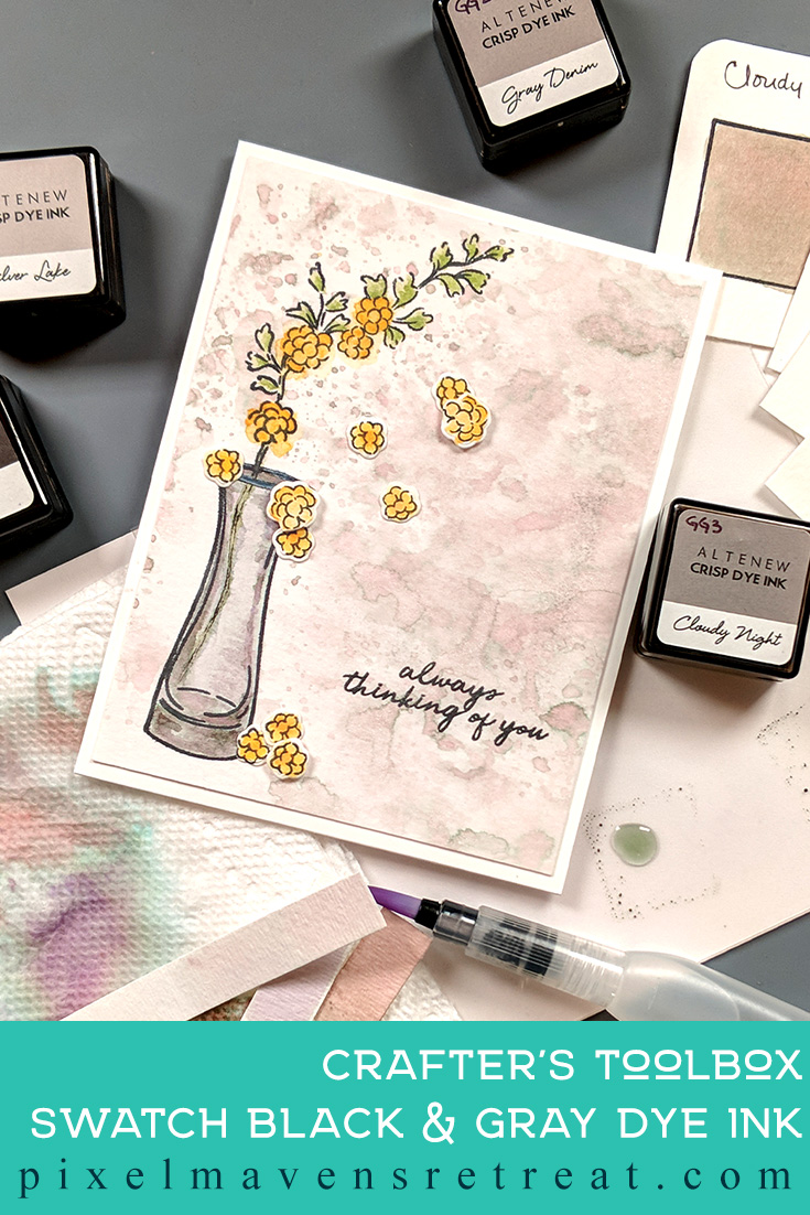 For the Altenew Educator Certification Program - level 2: Creative Watercolor Media. Features Beautiful Day stamp set & dies, Altenew crisp dye inks. For more details, click through to the blog post. #pmretreat #altenew #AECP #beautifulday #gray #pink #yellow #floral #shimmer #thinkingofyou