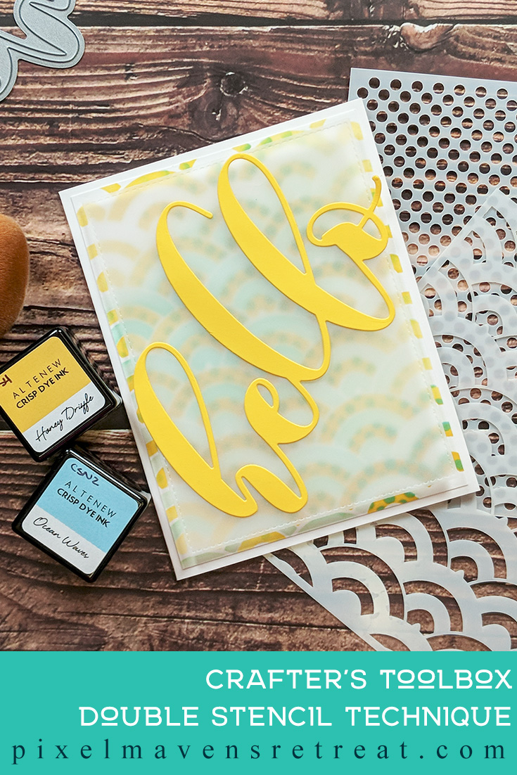 For the Altenew Educator Certification Program - level 2: With a Twist. Features Feeling Dotty and Scallop Builder Stencils and Mega Hello Die. For more details, click through to the blog post. #pmretreat #altenew #AECP #hello #doublestencil