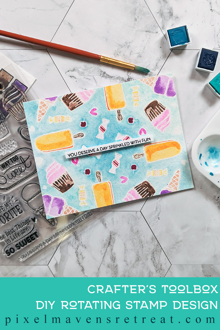 For the Altenew Educator Certification Program - level 2: Beyond Basic Backgrounds. Features Way Too Sweet stamp set, Altenew watercolor pans. For more details, click through to the blog post. #pmretreat #altenew #AECP #birthday #watercolor #treats #icecream #cupcake #rotatingstamp