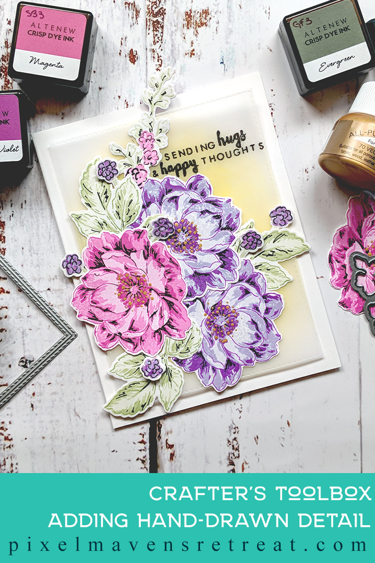 For the @Altenew Educator Certification Program - level 3: All About Layering 3. Features Beautiful Day stamp set & dies, For more details & video click through to the blog post. #pmretreat #altenew #AECP #bestwishes #floral #sketchdetail #buildaflower