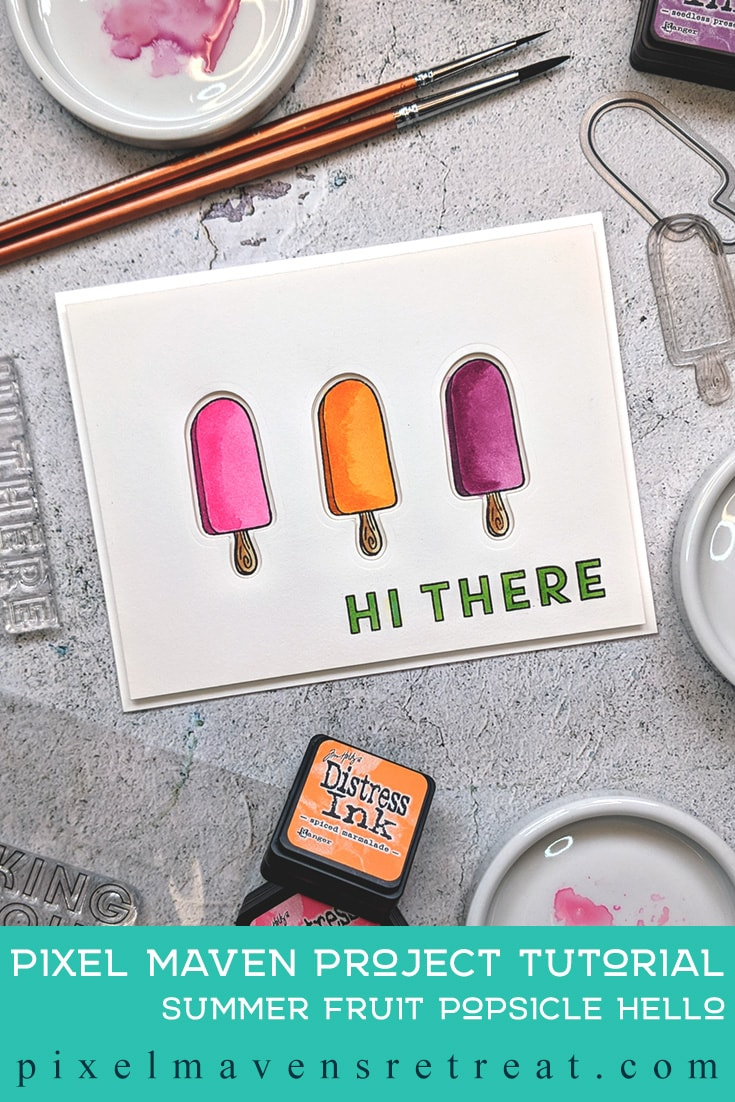 For the Festive Friday Challenge #FF0036). Featuring:All Lined Up stamp set (The Stamp Market), Way Too Sweet stamp set (Altenew), and Distress Inks (Ranger/Tim Holtz). Click through for a step-by-step tutorial and video #nicolewatt #pmretreat #watercolor #CAS #summer #popsicle