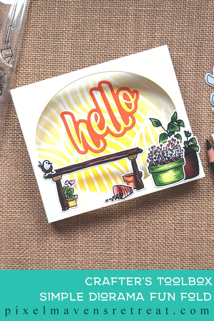 For Craft Collabs CASE the CREATOR (June 2019). Featuring: Mini Hello Word Die (Pinkfresh), Garden Grow Stamps & Dies (Altenew), Faber-Castell Polychromos, . Click through for a step-by-step tutorial and video #nicolewatt #pmretreat #funfold #diorama #summer #plants #pinkfresh #altenew #CASE