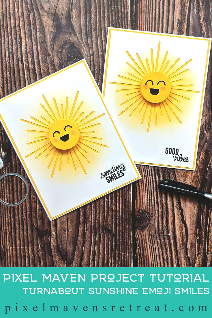 For the Festive Friday Challenge #FF0037). Featuring: Hello Sunshine Turnabout Stamps & Dies (Concord & 9th). Click through for a step-by-step video #nicolewatt #pmretreat #CAS #summer #emoji #sunshine #yellow #concordand9th #turnabout