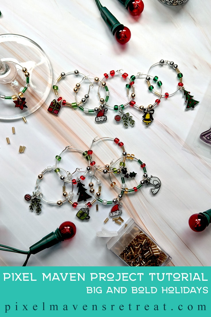 For the 12 Days of Christmas in July (July 2019). Featuring, Holiday Charms stamps & dies (Catherine Pooler). For more details including a process video, click through. #pmretreat #catherinepooler #cpd #shrinkydink #shrinkplastic #wineglasscharm #christmascharm #handmade #handstamped