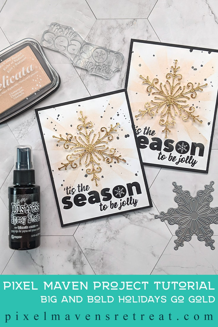 For the 12 Days of Christmas in July (July 2019). Featuring Big and Bold Holiday stamps (scrapbook.com). For more details including a process video, click through. #pmretreat #scrapbookcom #christmascard #holidaycard #snowflakes #christmas #handmade #handstamped #delicata #ff0039