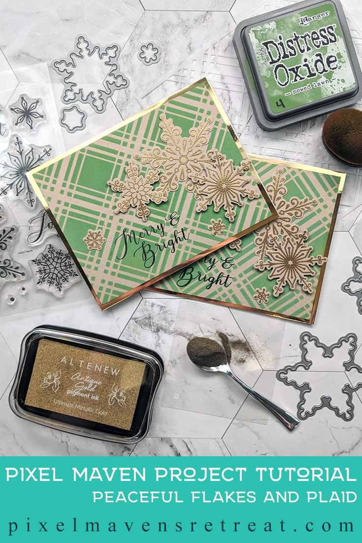 For the 12 Days of Christmas in July (July 2019). Featuring Peaceful Flakes (Catherine Pooler), and Plaid Stencil (The Stamp Market). For more details including a process video, click through. #pmretreat #thestampmarket #christmascard #holidaycard #snowflakes #christmas #handmade #handstamped #masking #catherinepooler #distressoxides