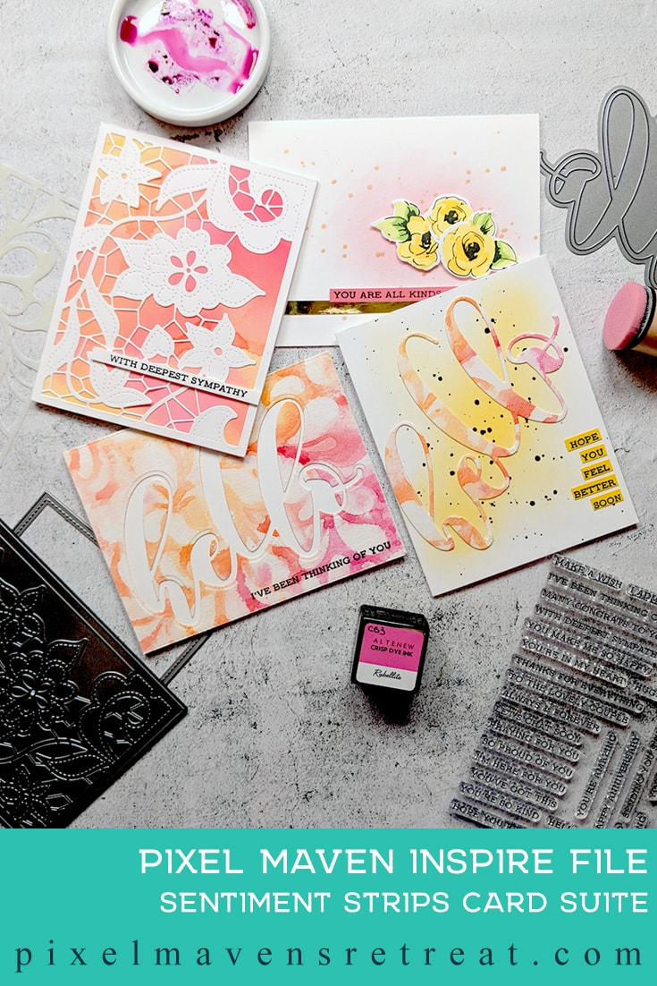 For the Festive Friday Challenge #FF0038). Featuring: Mega Hello, Sentiment Strips (Altenew). Click through for a step-by-step video #nicolewatt #pmretreat #watercolor #altenew #summer #aecp #alteneweducator #pink #orange #yellow #hello