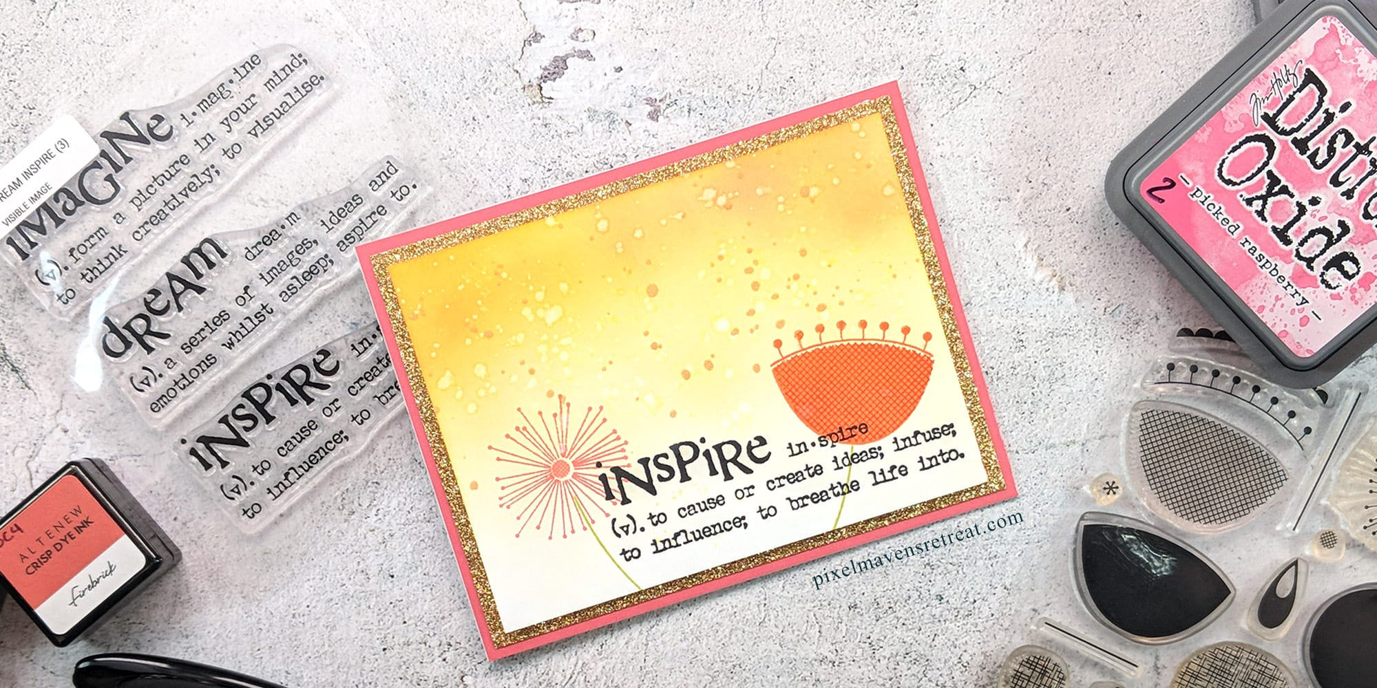Greeting card displayed on a stone desktop with crafting supplies. Card is pink, yellow and orange with Mid-Century Modern floral images and a sentiment reading