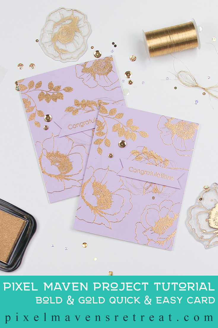 For On the CASE with Ann & Nicole (September 2019). Featuring, Wallpaper Art (Altenew). For more details including step-by-step process video for creating this card, click through. #pmretreat #altenew #goldembossing #gold #floral #handstamped #congratulations #handmade #diy