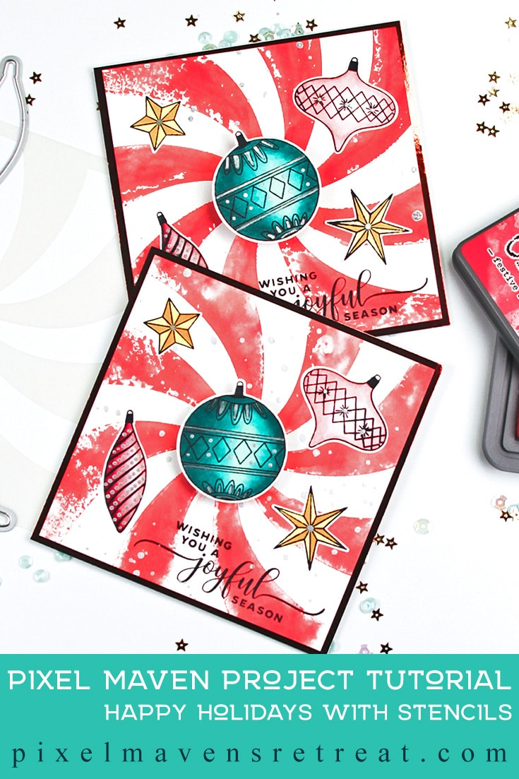 For the Craft Collabs Happy Holidays with Stencils YT Hop (October 2019). Featuring, Christmas Memories stamps & dies (Photo Play Paper), and A Colorful Life Designs stencils. For more details including a process video, click through. #pmretreat #photoplaypaper #photoplay #acld #acolorfullifedesigns #stencils #distressoxide #vintagechristmas #retrochristmas #christmasornaments #christmascard #christmas #handstamped