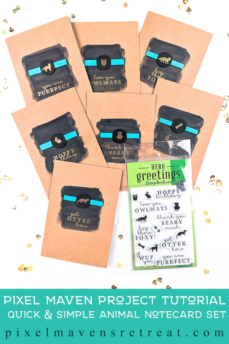 Notecard set designed for World Card Making Day, Features Hero Greetings (scrapbook.com) exclusive stamp set #pmretreat #scrapbookcom #wcmd #gold #black #kraft #blackonkraft #notecardset #notecards #gift