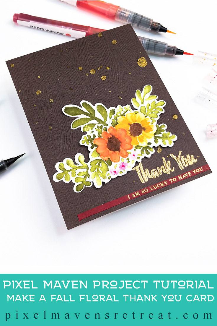 For the Festive Friday Challenge #FF0047). Featuring: Dearest Friends Stamps & Dies (Altenew), and Watercolor Brush Markers (Altenew). Click through for a step-by-step video #nicolewatt #pmretreat #altenew #festivefriday #watercolor #thanks #thankyou #thankful #nolinewatercolor #watercolor #floral #greetingcard