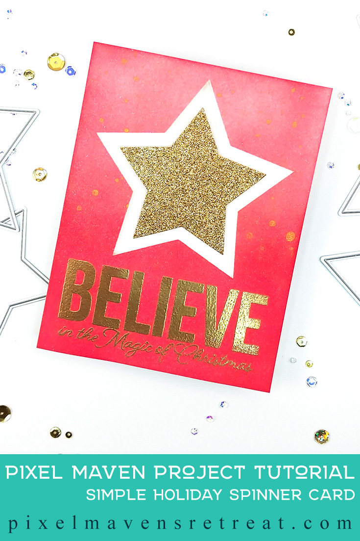 Holiday Spinner card for Scrapbook.com Holiday Handmade Papercrafting Parade Features the Big & Bold Christmas stamp set (scrapbook.com) and Nested Stars Dies (scrapbook.com). For details and a video, click through to the blog. #pmretreat #scrapbookcom #christmas #stars #spinnercard #carddesign #cardmaking #greetingcard #cards #sponsored #giveaway