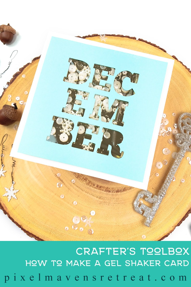 December card designed for Scrapbook.com Features the December cut file set (scrapbook.com). For details and a video, click through to the blog. #pmretreat #scrapbookcom #shakercard #liquidshakercard #cutfile #carddesign #cardmaking #greetingcard #cards