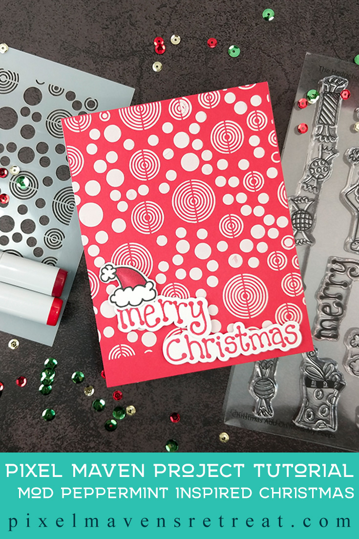 Mod Peppermint Inspired Christmas Card for The Hedgehog Hollow. Features the November 2019 subscription box partnered with Laura Kelly Designs (The Hedgehog Hollow). For details, click through to the blog. #pmretreat #thehedgehoghollow #christmas #embossingpaste #stencil #carddesign #cardmaking #greetingcard #cards #sponsored