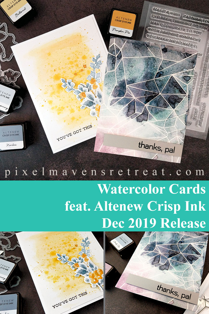 Watercolor Smooshed Geode style card and Watercolor Floral card for Altenew Dec 2019 Crisp Dye Ink Release. Features Geometric Landscape stamp set (Altenew), Beautiful Day stamp set (Altenew), Sentiment Strips stamp set (Altenew), Tranquility, Fall Harvest, and Sugarplums ink sets (Altenew). For details and a video, click through to the blog. #pmretreat #altenew #friendshipcard #newrelease #carddesign #cardmaking #greetingcard #cards #sponsored
