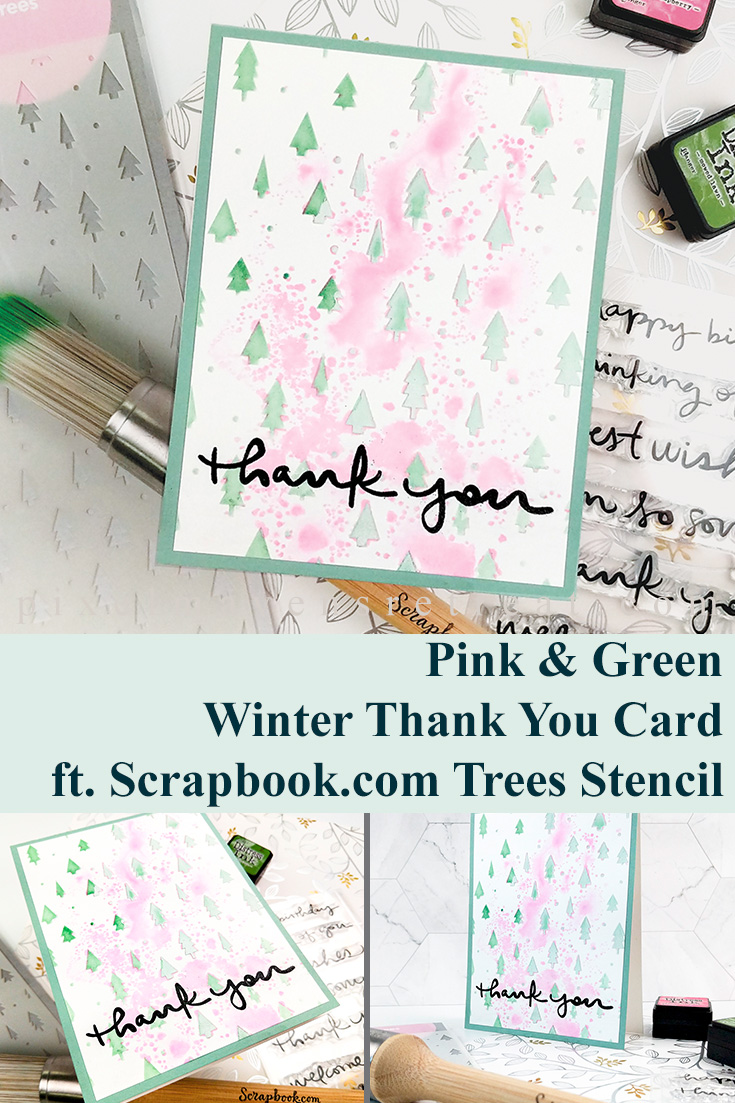 Trees Beyond Christmas - Pink & Green Thank You