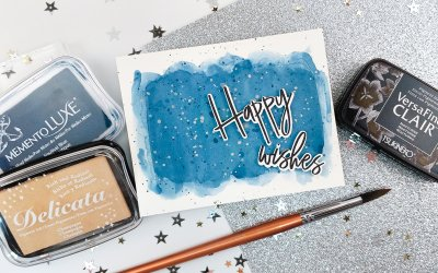 Happy Wishes and Watercolor Wash