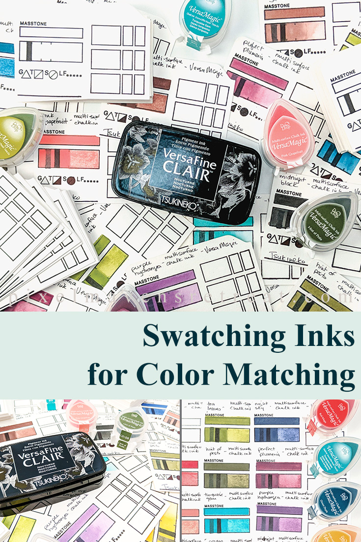 Learn how to create swatches for your inks and watercolors so you can color match products for your projects quickly and easily. For details and a video, click through to the blog. #pmretreat #imaginecrafts #tsukineko #waffleflower #colorswatches #inkswatches #sponsored