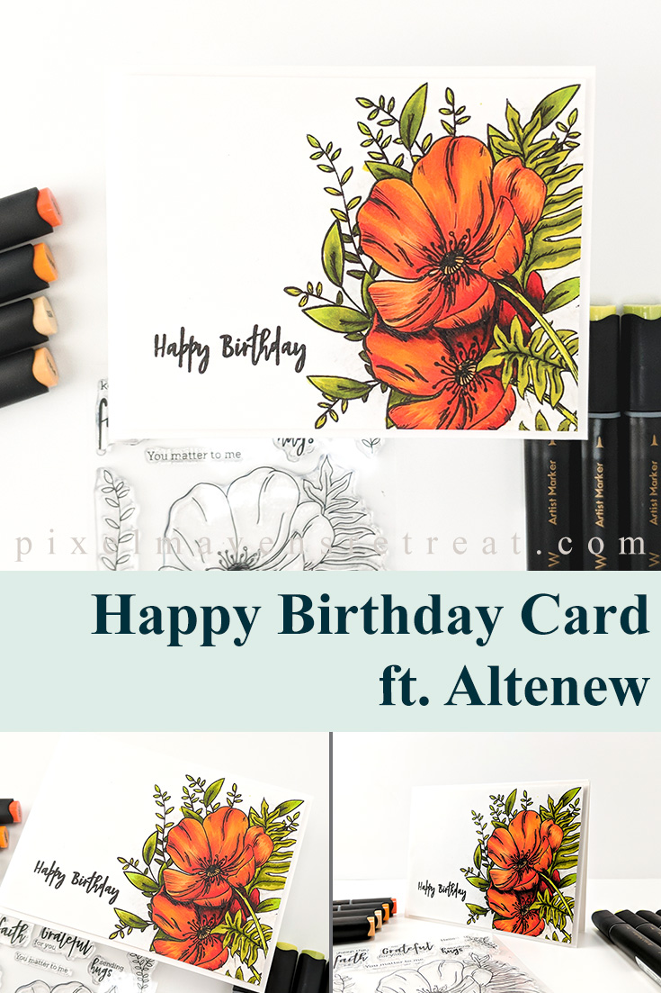 Artist Marker colored Poppy for the Altenew 2020 Paint-a-Flower: Poppy Release. Features Artist Marker Set E (Altenew). For details and a video, click through to the blog. #pmretreat #altenew #altenewpaintaflower #altenewpoppy #birthday #birthdaycard #newrelease #carddesign #cardmaking #greetingcard #cards #sponsored