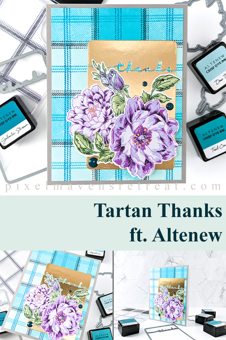 Altenew January 2020 Release Features Tartan builder stamp and Framed Thanks die. For details and a video, click through to the blog. #pmretreat #altenew #thanks #altenewtartan #altenewframedthanks #newrelease #carddesign #cardmaking #greetingcard #cards #sponsored