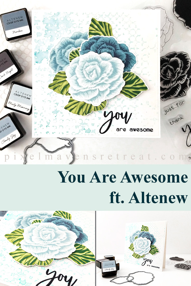 Blue begonias for the Altenew Feb 2020 Build-a-Flower: Begonia Release. Tranquility ink cubes (Altenew). For details and a video, click through to the blog. #pmretreat #altenew #altenewbuildaflower #altenewbegonia #encouragement #newrelease #carddesign #cardmaking #greetingcard #cards #sponsored