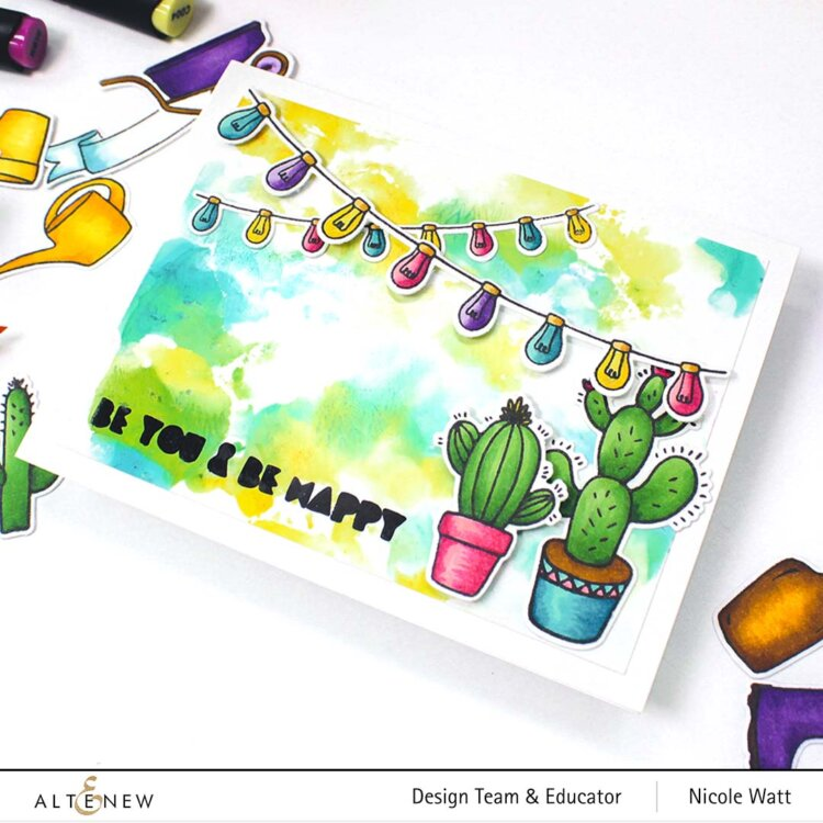 greeting card featuring altenew watercolor cactus and artist markers