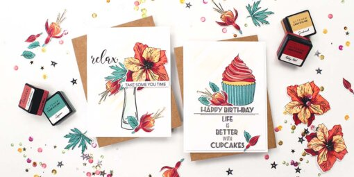 greeting card featuring featuring build-a-flower fuchsia, build-a-flower larkspur, and layered cupcake by altenew