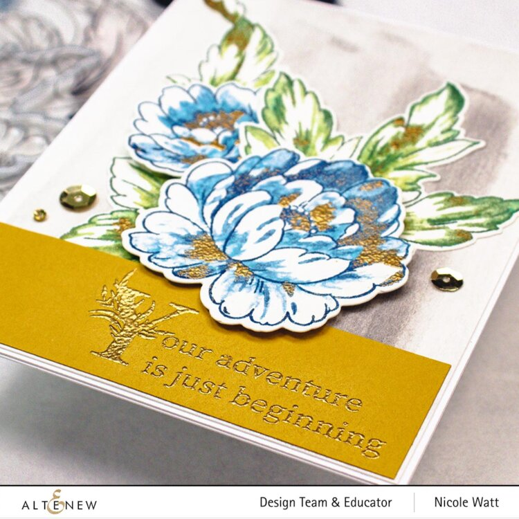 greeting card featuring altenew book engravings stamp set