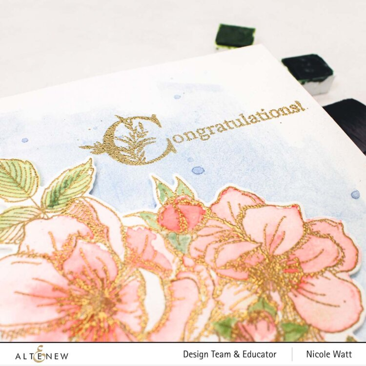 greeting card featuring altenew fairy tale florals
