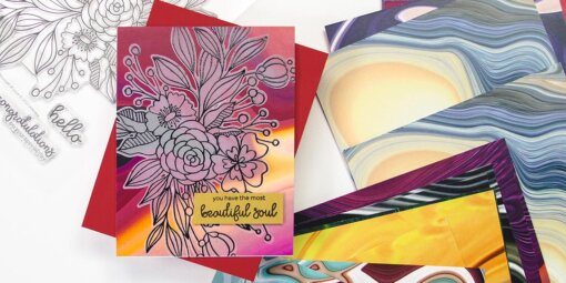 greeting card featuring bouquet of love and poured acrylic paper by altenew