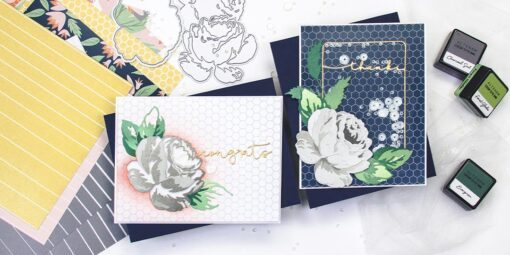 greeting card featuring craft a flower antique rose by altenew