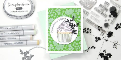 greeting card featuring altenew's layered cupcake and concord & 9th's painted petals turnabout
