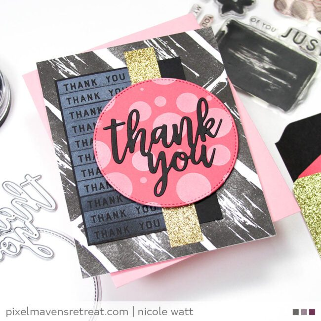 greeting card featuring concord & 9th painted petals and just because stamp sets