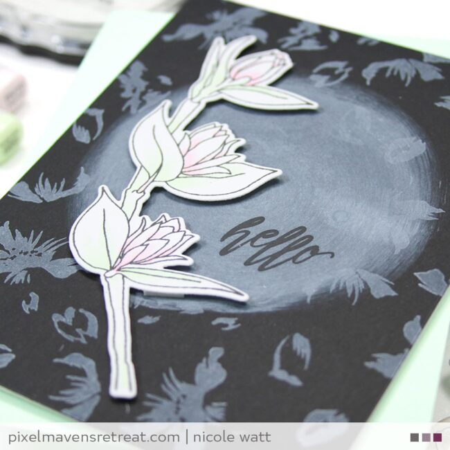 greeting card featuring floral sprig by altenew