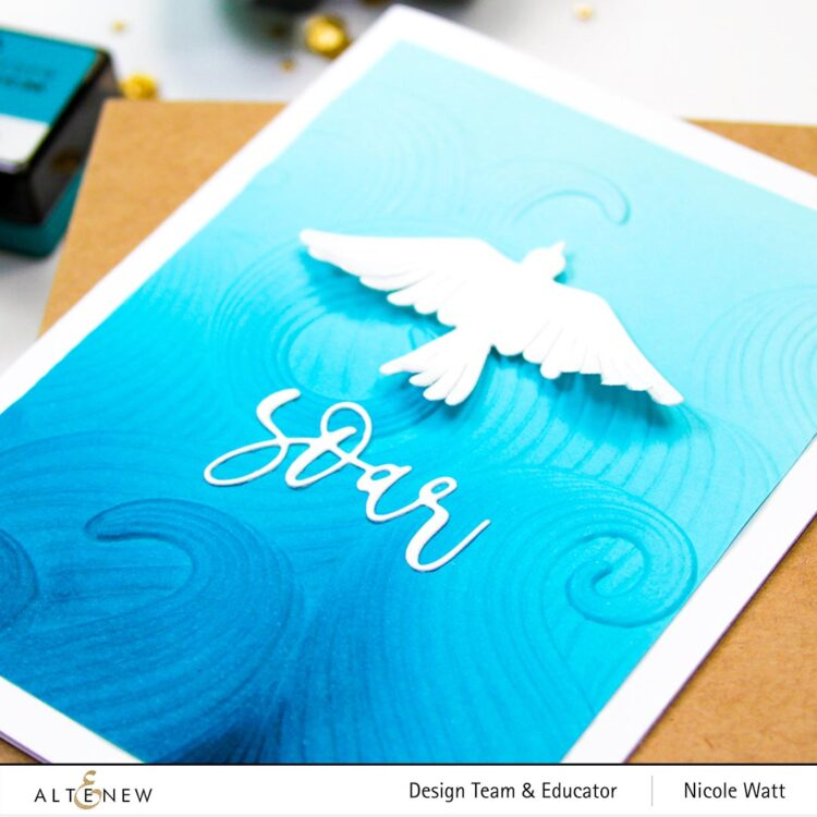 greeting card featuring mighty waves and feathered friends by altenew