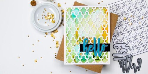 greeting card featuring altenew moroccan lattice cover and waterbrush hello dies
