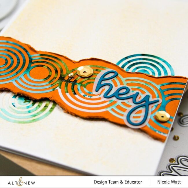 greeting card featuring altenew rippling rings border and all about you words dies