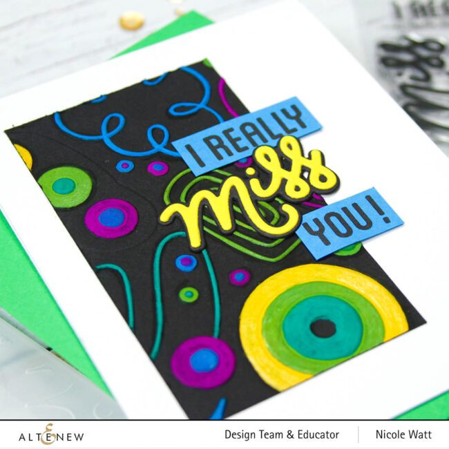 greeting card featuring i really miss you by altenew
