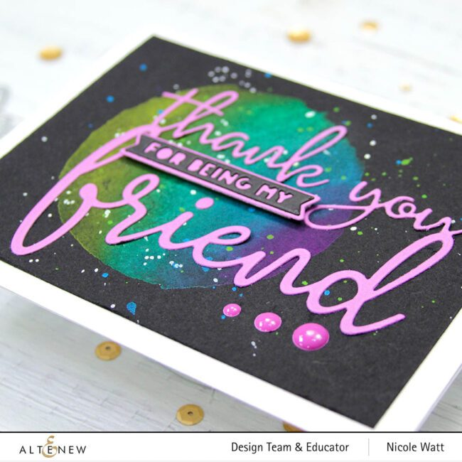 greeting card featuring thank you for being my friend by altenew