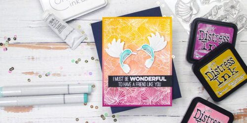greeting card featuring my favorite things coral flair happy hummingbirds
