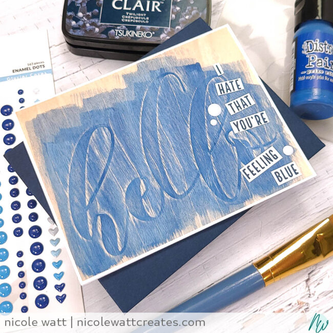 greeting card featuring altenew mega hello embossing folder
