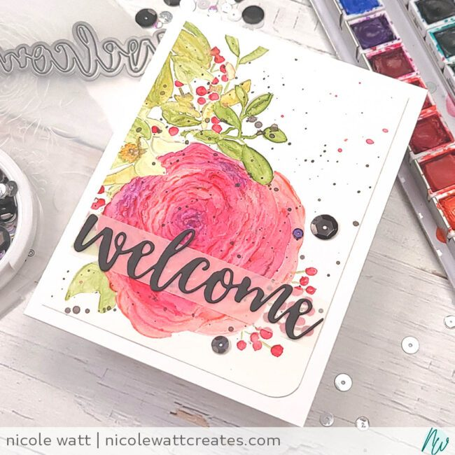 greeting card featuring altenew ranunculus embossing folder and watercolor