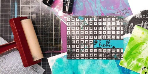 picture of monoprints using a gel plate and embossing folders