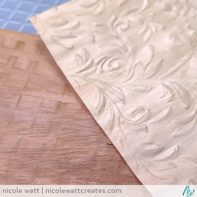 picture of wood sheets embossed with an embossing folder